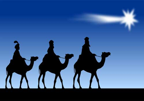 Christmas card with Wise Men