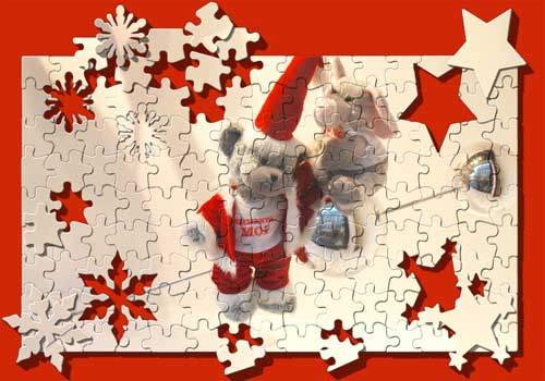 Xmas postcards with puzzle